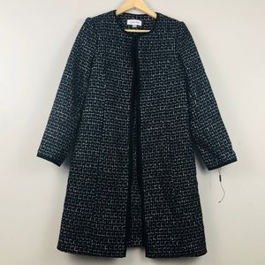Calvin Klein Metallic Tweed Long Over Coat